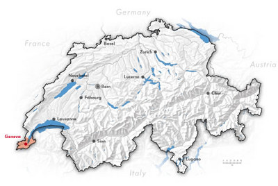 Swiss Map with the Location of Geneva / Geneve