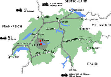 Switzerland Map with the location of Thun