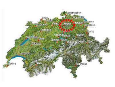 Switzerland Map with the Location of Zurich