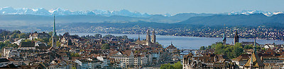 Zurich, Switzerland with Lake Zurich and peaks of the Swiss Alps