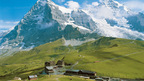 Kleine Scheidegg on the foot of the Eiger North Face above Grindelwald and Wengen, Switzerland