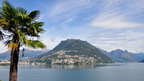 Monte Bre overlooking Lake Lugano and the city of Lugano in the Ticino region, Switzerland