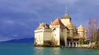 Montreux at the Lake Geneva Riviera with the famous Chillon Castle