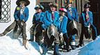 Chalandamarz - an old St. Moritz tradition to expulse the winter with ringing cowbells