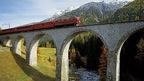 scenic trains of the Rhaetsiche Bahn in Graubuenden, Switzerland