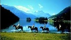 horseback riding in the beautiful landscapes of the Engadine Valley, Switzerland