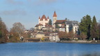 Thun with its castle, the gateway to the Bernese Oberland, Switzerland