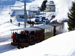 the nostalgic steam cog railway up to Mt. Rigi - one of Switzerland\'s oldest tourist attractions