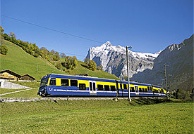 train of the Berner Oberland Bahn between Interlaken and Grindelwald