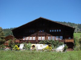 typical wooden chalet of Gstaad and the Saanenland