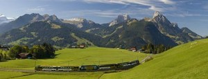 Golden Pass scenic Train near Gstaad in the Saanenland, Switzerland