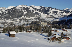 Gstaad with surrounding mountains