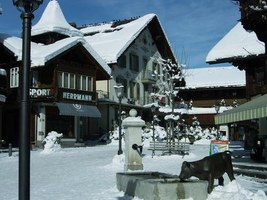 Gstaad - with car free promenade and the Palace Hotel overlooking the village
