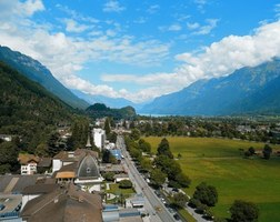 Interlaken's Hoeheweg - shopping promenade with great views of the Jungfrau mountain range