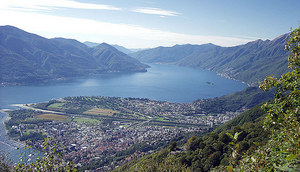 Locarno and the Delta of the River Maggia in the Ticino region, Switzerland