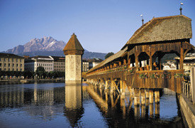 The world famous Chapel Bridge and Water Tower in Lucerne, Switzerland