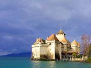 The famous Chillon Castle near Montreux - the most visited historic site of Switzerland