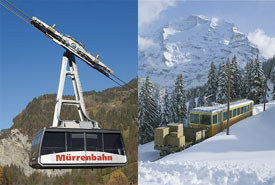 by gondola from Lauterbrunnen to Gruetschalp, and by train via Winteregg to Muerren