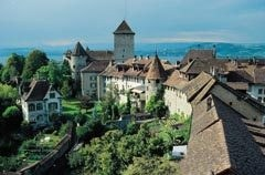 The city wall and the castle of Murten, Switzerland