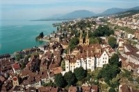 Neuchatel, Switzerland - medieval town on the shores of Lake Neuchatel