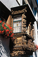 Wooden Oriel Windows in the Old Town of St. Gallen, Switzerland