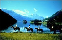 Horseback Riding in the picturesque surroundings of St. Moritz, Switzerland