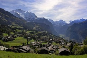 the car-free village of Wengen in the Bernese Oberland, Switzerland