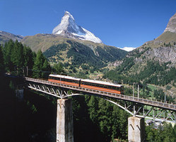 coqwheel railway to the Gornergrat with best views of the Matterhorn