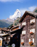wooden chalets in Zermatt, the village at the foot of the Matterhorn