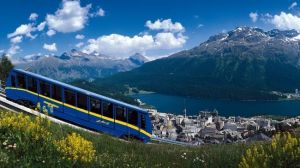 St. Moritz, the Alpine Metropolis in the Engadine Valley, Graubunden, is a famous spa resort and winter sports destination.