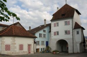Town Gate in Delémont, the Capital of the Catnon Jura, Switzerland