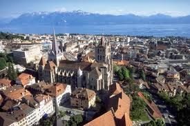 Lausanne, Switzerland - the Olympic Capital situated on the shores of Lake Geneva with fantastic views of the Swiss and French Alps