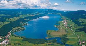 Lac de Joux and the Joux Valley - a popular destination for nordic skiing and known as the craddle of Swiss watchmaking located in the Jura mountains, Switzerland