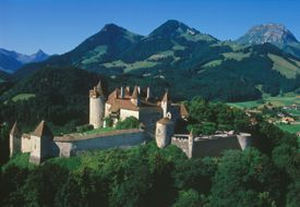The Castle of Gruyere situated at the foot of the Fribourg Pre-Alps