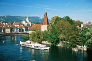 the city of Solothurn situated at the foot of the Jura Mountains on the River Aare