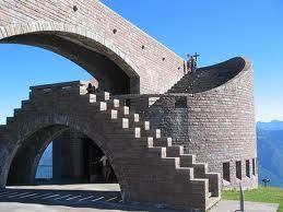 Santa Maria Degli Angeli Chapel on Mt. Tamaro in the Ticino, Switzerland; designed by the local star architect Mario Botta