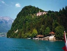 The historic Giessbach Belle-Epoque Hotel above the shores of Lake Brienz with fantastic views of the lake and surrounding mountains