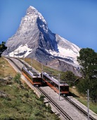 The Gornergrat Cogwheel Railway offering fantastic views of the Matterhorn and other peaks of the Swiss Alps