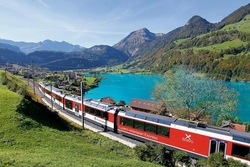 Interlaken - Lucerne Panorama Train with views of great landscapes including crystal-clear lakes and snow-capped peaks