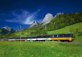 The Golden Pass scenic train connecting the popular Swiss Tourism destinations of Montreux, Gstaad, Interlaken and Lucerne.