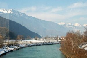 The Valais - Rhone River from the glaciers in the Swiss Alps to Lake Geneva
